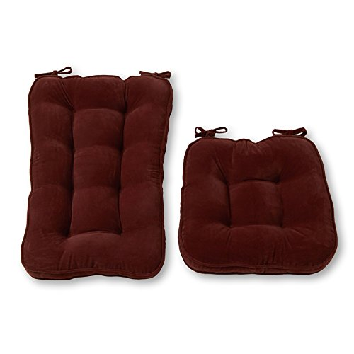 Greendale Home Fashions Jumbo Rocking Chair Cushion Set Hyatt fabric, Burgundy (Sets Cushion)
