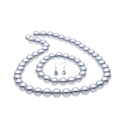 LUREME Fashion Style Pearl Elastic Necklace Bracelet Dangle Earring Set-Grey (09000649-4)