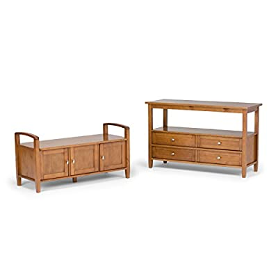 Simpli Home Warm Shaker Entryway Storage Bench, Distressed Grey -  - entryway-furniture-decor, entryway-laundry-room, benches - 41BsTuVZPEL. SS400  -