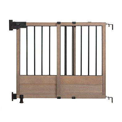 HomeSafe Rustic Home Top of Stairs Gate in Dark Wood, Unique, Vintage Look, Keeps Children Safely Contained, Mounting Hardware Included, Fits Openings 29