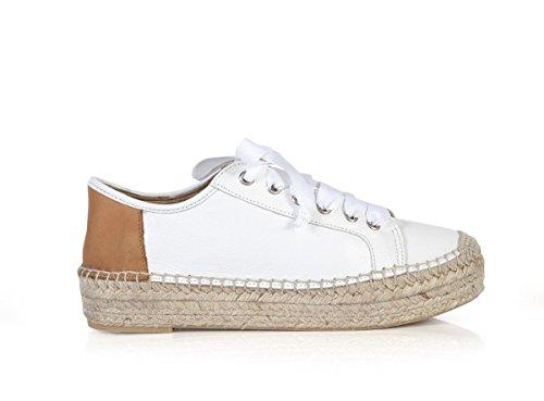 Matte Bernson Dames Eze Lederen Espadrille Sneakers Tarwe Vach Wht Leath