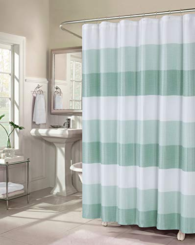 Dainty Home Waffle Weave Ombre Stripe Fabric Shower Curtain, 70 inch Wide x 72 inch Long, Spa Blue (Curtain Spa Waffle Shower)