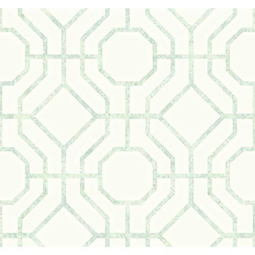 York SO2461 Candice Olson Tranquil Lanai Trellis Wallpaper, Lt Green