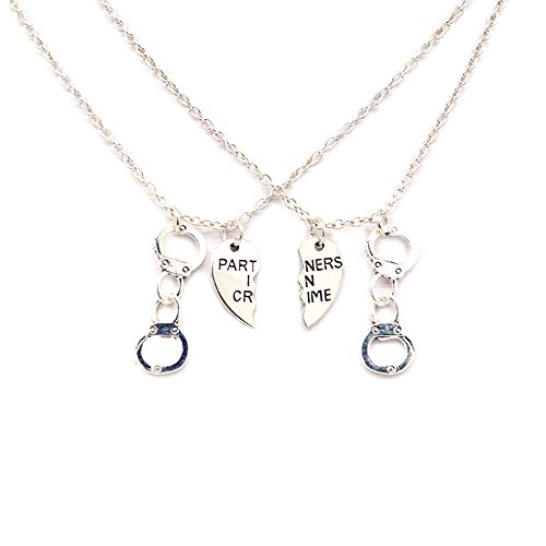 Partners in Crime Necklace for 2 Friendship Jewelry Heart Charms Couples for Valentine