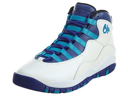 Jordan Big Kids Air Retro 10 (white/concord-blue lagoon-black) Size 7.0 US by Jordan