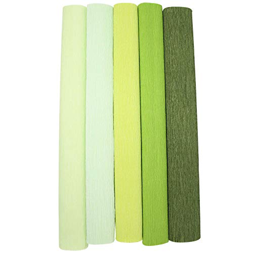 Just Artifacts Premium Crepe Paper Rolls - 8ft Length/20in Width (5pcs, Color: Shades of Green)