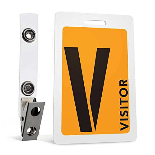 (Visitor Badges with Clips (Orange) 5-Piece Set for ID and Safety by MESS)