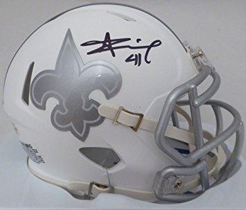 Alvin Kamara Signed Autographed New Orleans Saints Rare ICE SPEED Mini Helmet COA & (New Orleans Saints Signature Football)