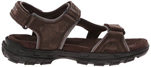 Skechers USA Mens Gander Alec Flat Sandal, Brown, 10 M US Brown/Black