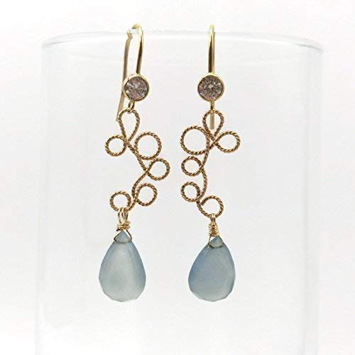 14K GF Fancy Gemstone Earrings | Topaz Chalcedony Jewelry Sale | Anniversary Birthday Holiday Gifts | 2 Inch (Earrings Blue Topaz Chalcedony)