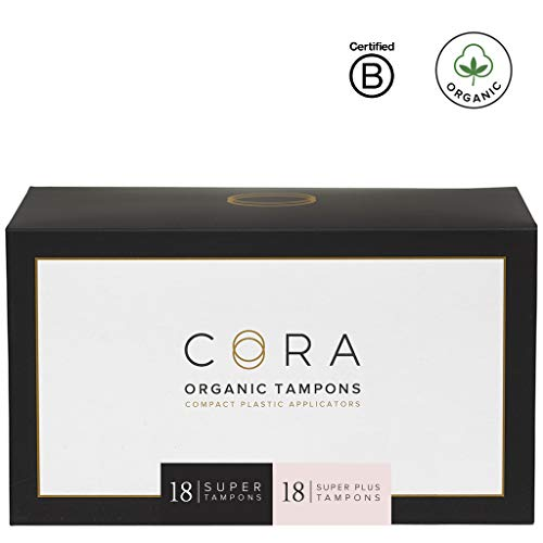 Cora Organic Cotton Tampons with Compact Applicator; Variety Pack - Super/Super Plus (36 Count) ()
