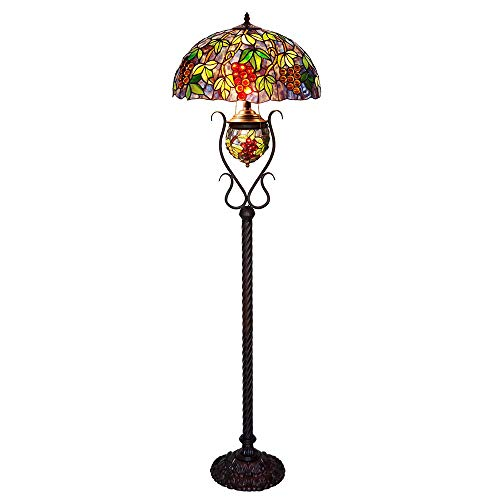 HT Tiffany 18 inch Grape Stained Glass Floor lamp Double lamp Oval Living Room Bedroom - Lamp Oval Floor Iron