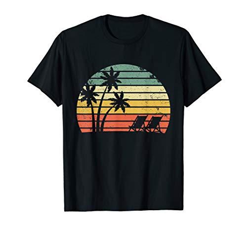 Vintage Beach Shirt Palm Trees Beach Chair Tshirt Cool Tee ()