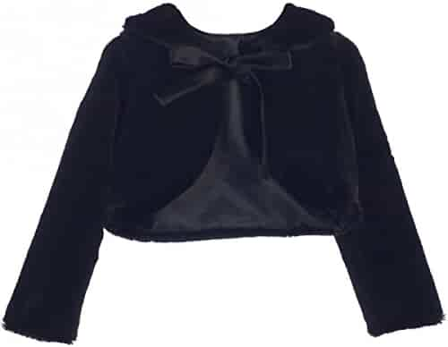 Dreamer P Little Girls Adorable Faux Fur Pearl Cover Up Bolero Jacket Shrug Winter 2-16