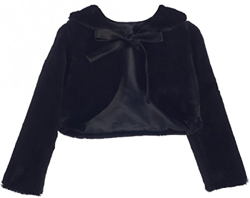 Big Girls' Faux Fur Ribbon Long Sleeve Tie Flower Girl Bolero Jacket Cover Cape Black 10 (SC3K5) by Dreamer P