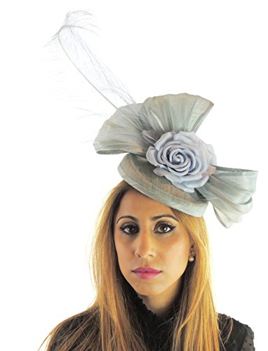Hats By Cressida Silk Sinamay & Silk Flower Elegant Ladies Ascot Wedding Fascinator Hat Baby Blue by Hats By Cressida