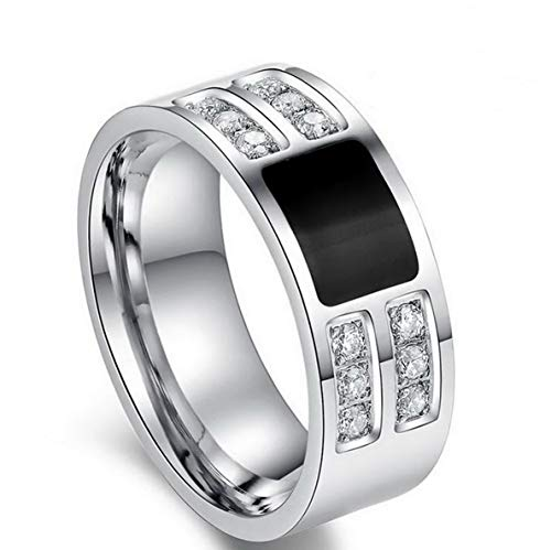 Campton Band Size 7-13 Black Topaz Stainless Steel Mens Wedding Engagement Ring Gift | Model RNG - 1536 | 7 -