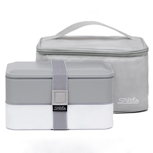 Snitsla Go-Bento Lunch Box set in Insulated Lunch Bag for Adults-Reusable Meal Prep Containers with Silverware-Sauce Jar and Divider to keep Food and Snack separated; Great for Portion Control - Grey