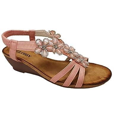 Saphir Boutique Damen Elastisch Knöchelriemen Gepolsterte Innensohle Strass Perlen Sandalen - Schwarz, 3 UK
