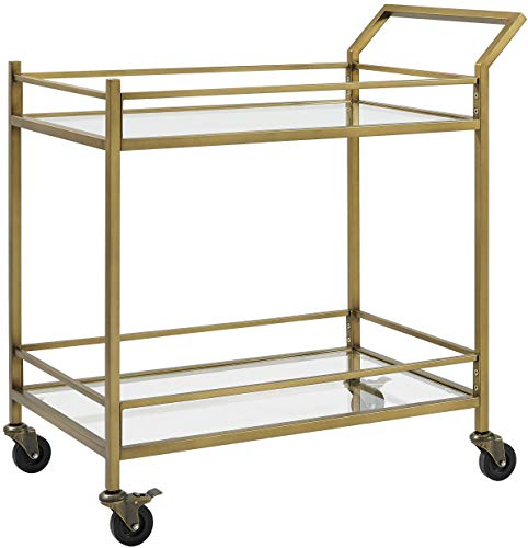 Crosley Furniture Aimee Rolling Bar Cart, Gold and Glass