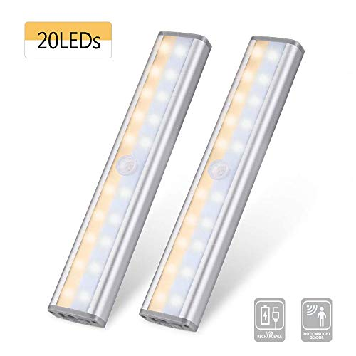 Under Cabinet Lighting 20LED, Juya Wireless Motion Sensor Closet Lights with Rechargeable Battery, Magnetic Night Lamp, 3 Mode Stick-on Light for Kitchen Stair Hallway Under Counter (2 Pack)