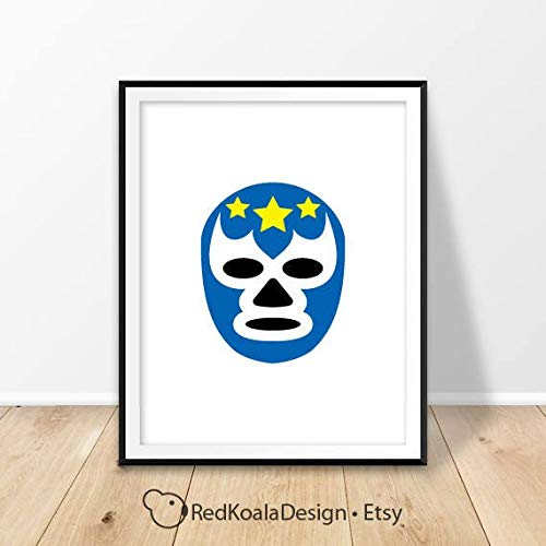 - MalertaART Lucha Libre Print Luchador mask Mexico Wall Art Printable Poster Mexican Wrestling Prints Man cave Decor Framed Wall Art