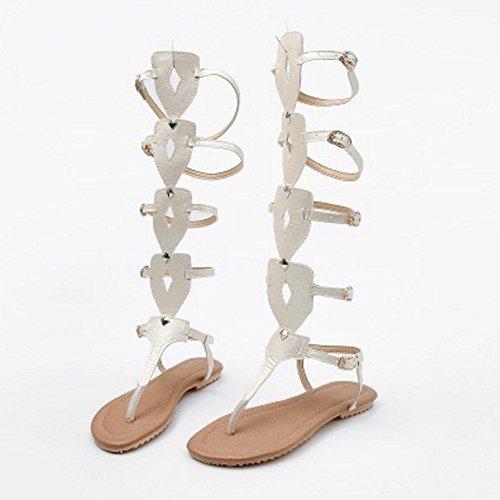 VulusValas Women Classic Gladiator Sandals White YEpilK