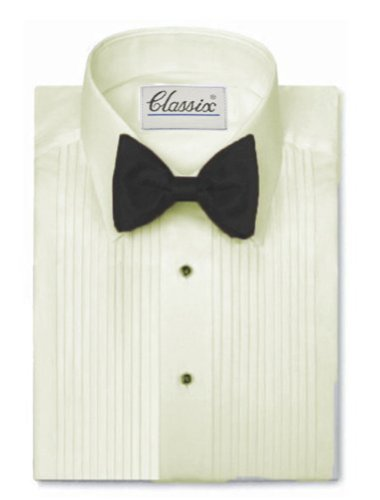 Classix Men's Tuxedo Shirt - 1/4 Inch Pleat Laydown Collar, Ivory