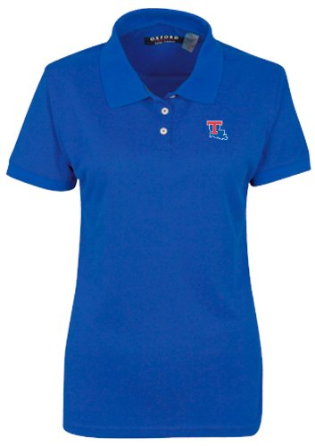 NCAA Louisiana Tech Bulldogs Women's 3 Button Polo Shirt with Banded Sleeves, Ultramarine, Medium