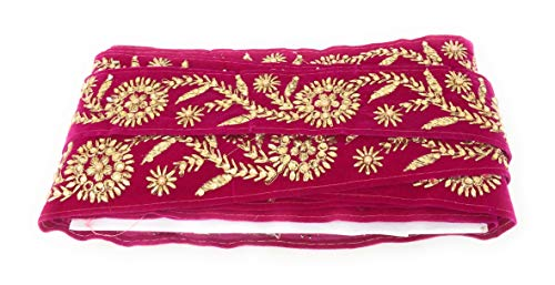 Inhika 9 Yard lace Border Trim for Women Saree Dupatta Colour Rani Pink Gold, Pearl on Velvet Material 5.5 cm Wide Embroidery, Beaded Stone n Pearl Flat Trim