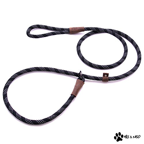 Max and Neo Rope Slip Lead Reflective 5 Foot - We Donate a Leash to a Dog Rescue for Every Leash Sold (Black, 5FT X 1/2)
