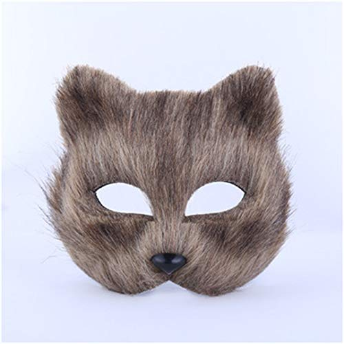 PATY&COSMSK Fox Masks Masquerade Halloween Party Supplies Cosplay Plastic Mask Upper Face Ball Mask Brown