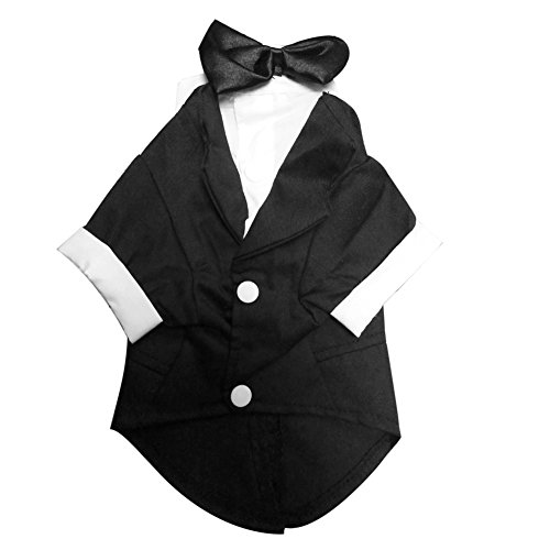 TTnight 5Sizes Small Pet Cat Dog Wedding Party Prince Tuxedo Suit Puppy Coat Pet Dress-up Clothes with Bow Tie (Dress Up Dogs)