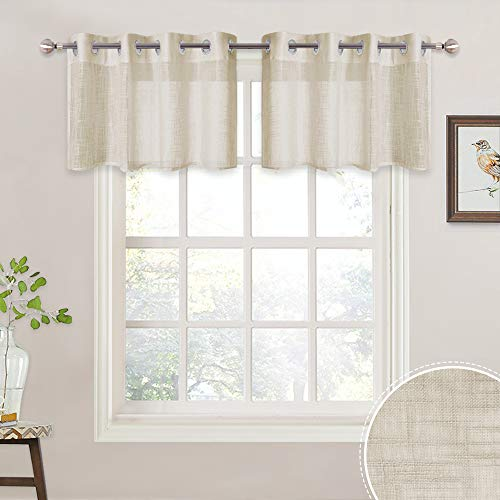 RYB HOME Semi Sheer Tiers Pleated Neat Linen Pattern, Grommet Half Window Valance for Kitchen/Cafe, Decorative Short Drapes, W 52