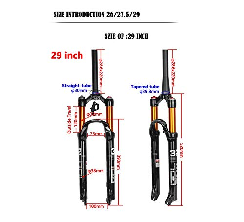 ZTZ Magnesium Alloy Mountain Front Fork Air Pressure Shock Absorber Fork Fork Bicycle Accessories 29 Romote Lock Out by ZTZ (Image #4)