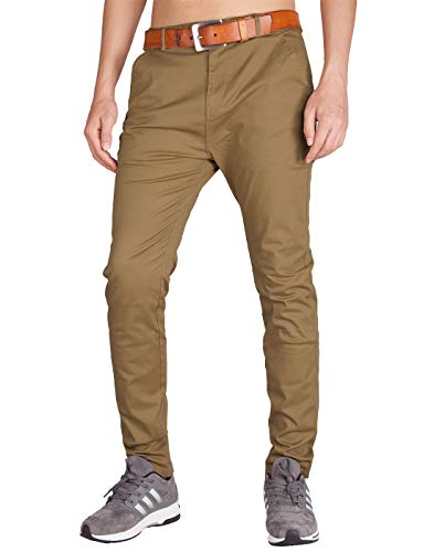 ITALY MORN Men's Chino Twill Flat Front Casual Pants 36 Camel