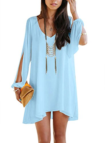 Viwenni Sexy Womens V-Neck Loose Irregular Hem Summer Chiffon Short Beach Dress, Small, Sky Blue