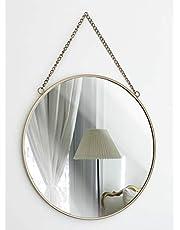 GreyZook vintage stijl ronde metalen frame spiegel met ketting