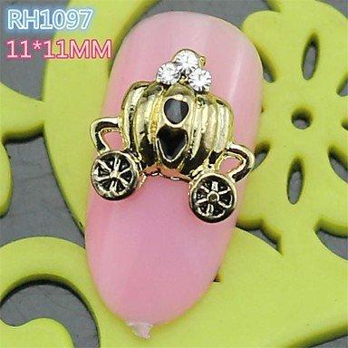 10PCS RH1097 New Design Golden Cool Halloween Pumpkin Cart Style 3D Alloy Nail Art Decoration nail salon DIY