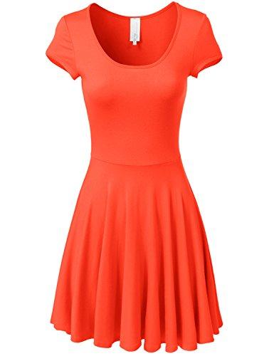 orange skater dress - 8