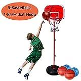 MICROFIRE Toddler Basketball Hoop Kids Magic Shot Hoop Indoor Basketballs Hoop Including Pump Set of 1 pcs of 5 Balls and 1 Pump Red Adjustable Height Up to 60 inch