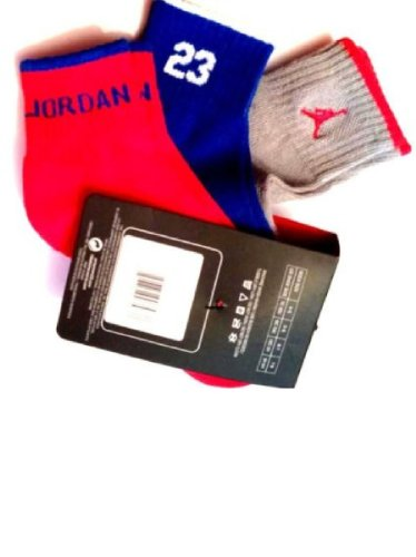Nike Air Jordan Boys 3Pr Quarter Socks Sz 7-9- /3Y-5Y HADDAD Gray/Blue/Red by NIKE