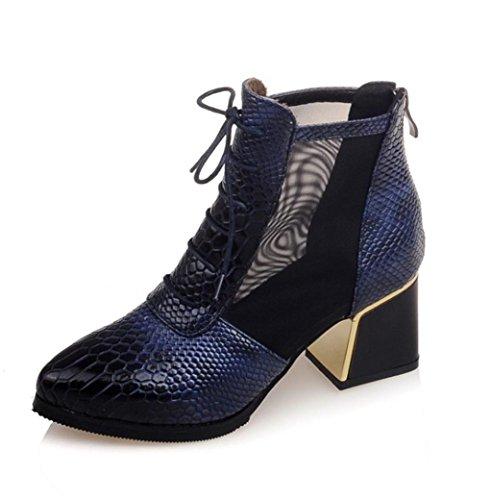 Chelsea Work Femme Chaussures Hauts Ladies Hetao Office Personnalité Blue À Tempérament Boots Talons De Élégantes Pour 0nqfRPA