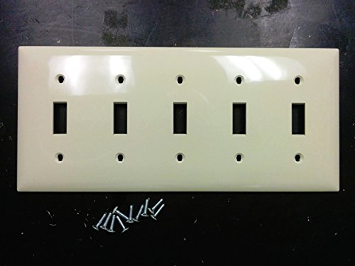 1 pc 5-Gang Toggle Switch Wall Plate Cover IVORY Five Unbreakable Lexan Plastic (5 Wall Switch Gang)