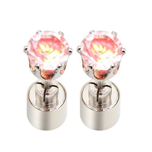 LED Fashion Red Crystal Earrings Cube Shape Blinking Ear Studs Shinning Flashing Drop Pendant for Women Girls