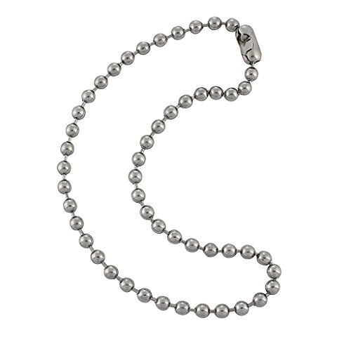 6.3mm Large Silver Steel Ball Chain Mens Necklace with Extra Durable Color Protect Finish - 15 inches