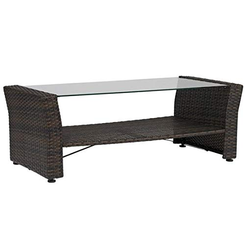 BrylaneHome Santiago Glass Top Coffee Table - Brown