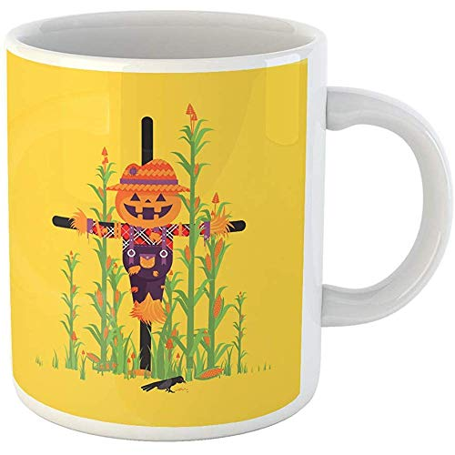 Funny Gift Personalized Coffee Mug Stock Scarecrow with Pumpkin Instead of Head Among Maize Character for Halloween 11 Oz Ceramic Coffee Mug Tea Cup Souvenir