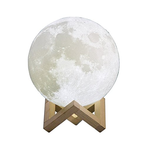 3D Printing Moon Lamp Night Light,WONFAST USB Rechargerable Touch Switch Brightness Yellow and White Adjustable Desk Lamp With Wooden Mount,Kids Room Decor Birthday Christmas Gift (7.87 inch/20 CM) Review