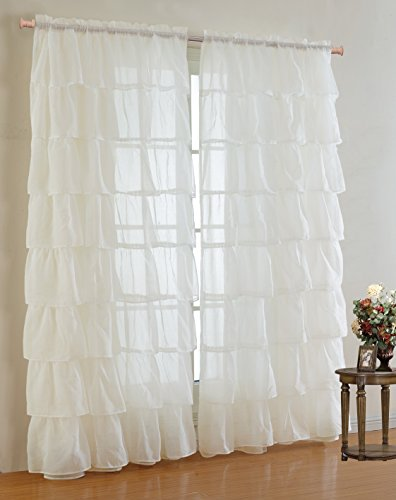 Mk Collection Gypsy Crushed Ruffle Sheer Curtains - 55